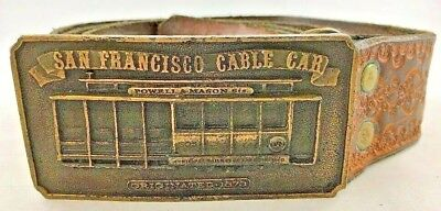 Brass Belt Buckle San Francisco Cable Car Bergamot Brassworks 1976 W Tooled Belt