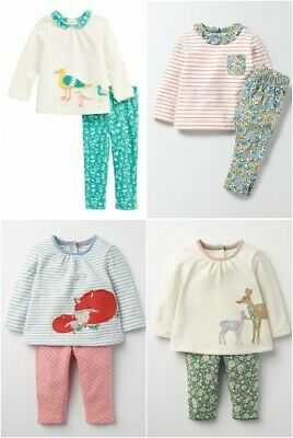 Girls Playset Ex Baby Mini Boden Outfit Top Leggings Applique Floral Spot Stri