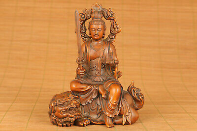 chinese old antique boxwood hand carved kylin kwan-yin statue netsuke