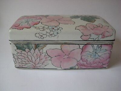 antique Chinese porcelain TRINKET BOX lid lotus pillow famille rose Asian vtg