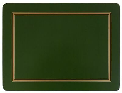 Set Of 4 Green Gold Bordered Classic Cork Backed Large Placemats 40 X 30 X 0.6Cm