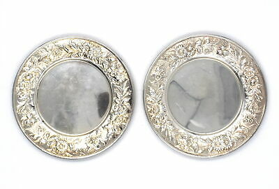 "Pair Vintage Kirk Repousse Bread Butter Serving Plates 6"" Sterling Silver #127"