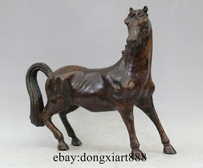 """8"""" China Bronze Copper Chinese Zodiac Animal Lucky Horse Horses Feng Shui Statue"""