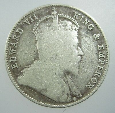 Straits Settlements 20 Cents 1910 Silver #V British Malaysia Singapore Coin