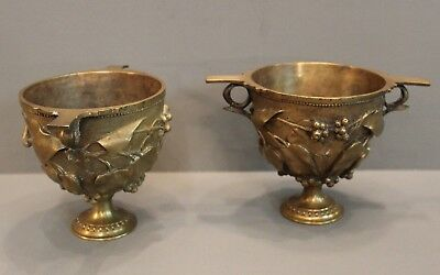 Pair of French Ferdinand Barbedienne bronze Art Nouveau chalices. Reduced Price
