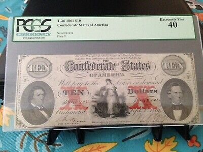 Confederate Currency Graded T-26 Civil War Ten Dollar note early 1861 Bill