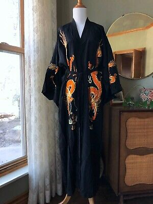 Antique Robe Chinese Silk Embroidery Dragon 5 Claw Orange Black Yellow Kimono