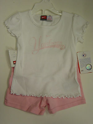 NEW Infant Toddler Kids Girls NIKE 2 piece NY Yankees White Pink Shirt & Shorts