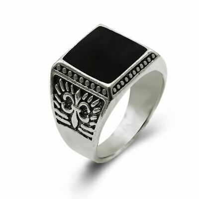 Silver Plated Unisex Punk Style Luxury Square Shaped Vintage Rings for Men