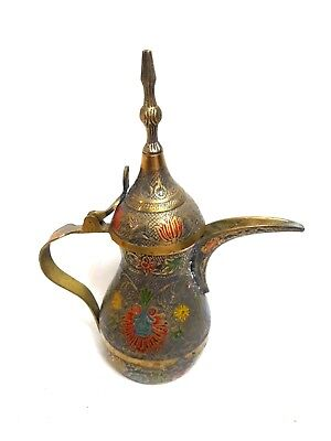 Vintage Middle Eastern Arabic Brass Dallah Coffee Pot Ornate Colorful Flowers
