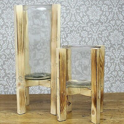Large or Extra Large Glass Candle Holder on Rustic Wood Stand. Patio & Garden
