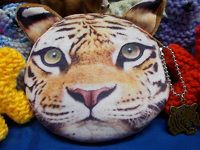 *** Cute Tiger Soft Plush Coin Purse With Zipper - New With B Tiger Charm # 20 A
