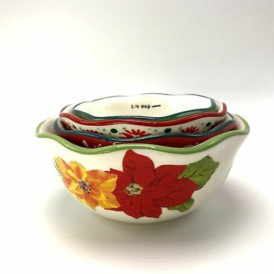 PIONEER WOMAN ~ POINSETTIA NESTING MEASURING / PREP BOWL SET ~ 1/4 CUP to 1 CUP