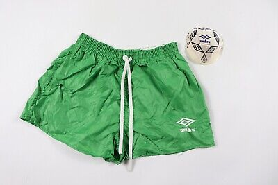 Vintage 80s New Umbro Youth Large Spell Out Nylon Soccer Shorts Solid Green USA