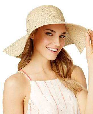 3401313f Calvin Klein Women's Sequin Straw Hat Natural One Size New NWT