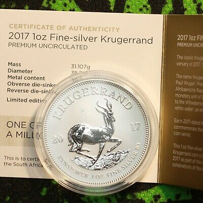2017 South Africa 1 oz Silver Krugerrand 50th Anniversary Premium Uncirculated