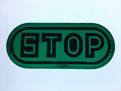1920's 1930's Early GREEN GLASS STOP Tail Light Lens Car Truck Motorcycle OLD