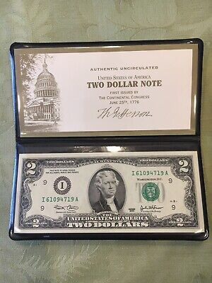 Two $ 2 Dollar Bill Note 2003 Uncirculated In Case and Box US Monetary Exchange