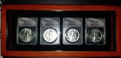 1986, 1987, 1988, & 1989 Silver eagle set ANACS ms70 Perfect with display box