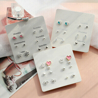 6 Pairs/Set Women Crystal Pearl Various Styles Stud Earrings Fashion Jewelry