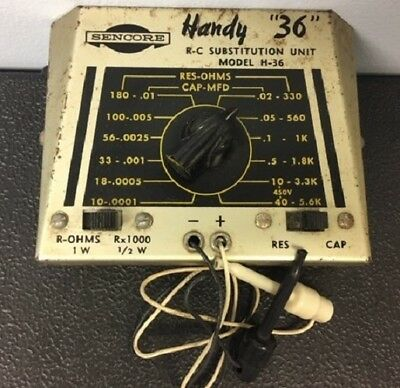 "Sencore Handy ""36"" Resistance/Capacitance Substitution Box Model RC144 - D25"