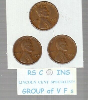 1937D &  1938D  &  1939D    ~ Very  Fines ~   Lincoln  Cent  3  Coin  Set