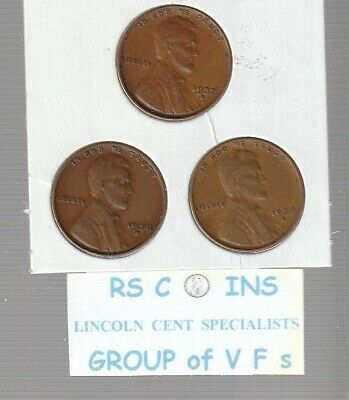 1937S &  1938S  &  1939S    ~ Very  Fines ~   Lincoln  Cent  3  Coin  Set