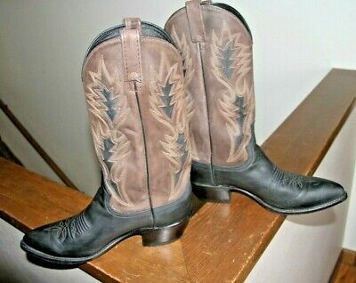 2ec9d11875c Dan Post Black Brown Leather Western Cowboy Boots 16809 Mens 9.5 D USA made