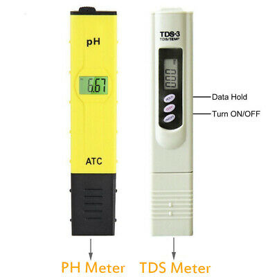 TDS Tester + Digital Ph Meter Aquarium Pool Hydroponic Water Monitor 0-9999 PPM