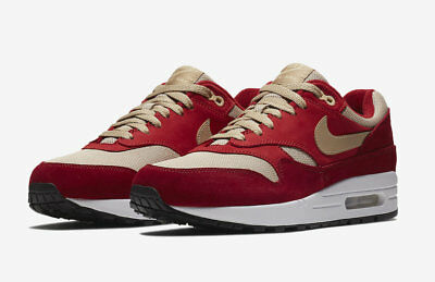 2018 Nike Air Max 1 Premium Retro SZ 6 Red Pale Vanilla Mushroom 908366-600