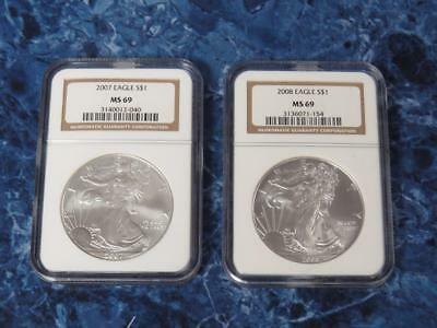 2007 & 2008 American Silver Eagles (.999) – NGC MS69