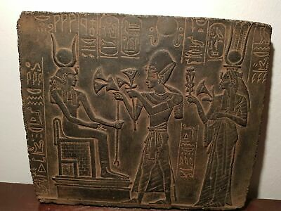 Rare Antique Ancient Egyptian Stela king Ramses offer Flower God Isis1279–1213BC