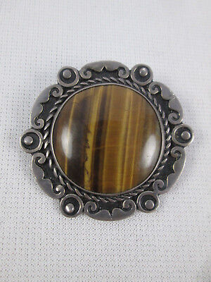 Vintage Taxco Mexico Sterling Silver Tiger's Eye Pendant Brooch Pin MB Signed