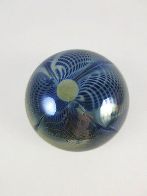 Vintage Roland R. Correia 1975 Signed Art Glass Paperweight Pulled Optical Moon