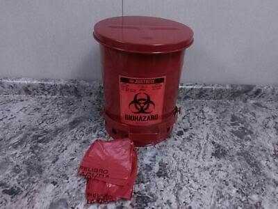 Justrite 05910R 6 Gal Can Cap Red Steel Biohazard Waste Can