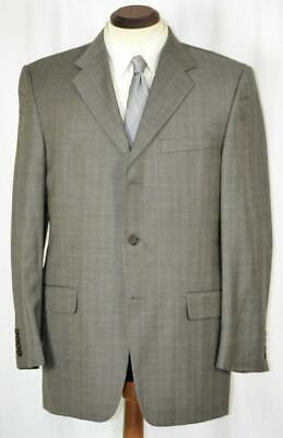 Mint - Worn Once $1695 HICKEY FREEMAN Side Vent Taupe Shadow Plaid SUIT 40 R