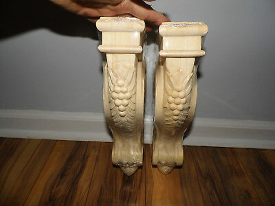 "Pair of Victorian Design Wood Corbels Unfinished Acanthus & Berries 12.75"" x 9"""