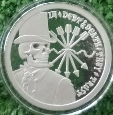 Original Sbss 1 Oz .999 Silver Proof Round Coin Double Obverse Debt And Death