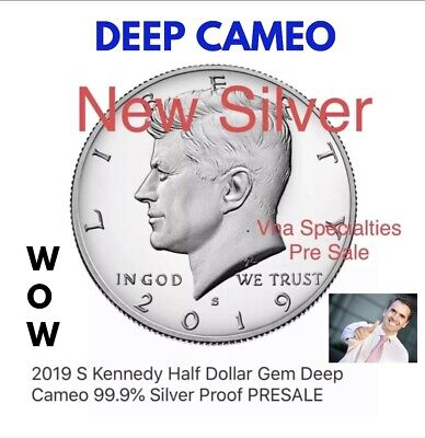 NEWFROM THE SILVER SET 99.9% 2019 S Kennedy Half Dollar Gem Deep Cameo PRE-Sale