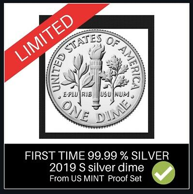 Silver Proof US 2019 S Roosevelt Dime Gem Deep Cameo 99.9% Coin PRESALE.