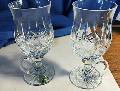 2 Waterford Crystal Lismore Footed Handle Irish Coffee Glasses Glass