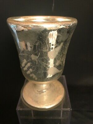 Victorian Mercury Glass GOBLET Gold Washed Interior Frosted Designs Antique