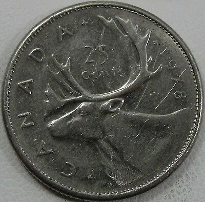 1978 25C Canada 25 Cents, Small Denticles, Canadian Quarter, #7279