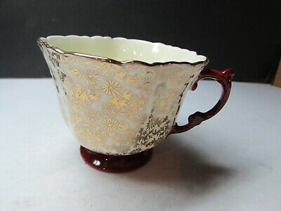 Vintage Aynsley England Bone China Tea Cup Red With Lots Of Gold