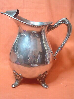 Vintage Bristol # 44A Silverplate Water Beverage Pitcher w Ice Lip Footed Stand