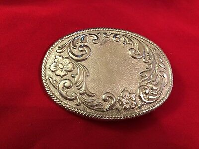 Vtg silver tone ladies Western floral oval Belt buckle marked W USA