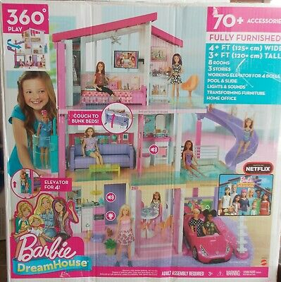 Barbie Dream House Fully Furnished 70+ Accessories ~ NEW 4+ Ft x 3+ Ft
