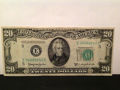 Old Paper Money 1950B Twenty $20 Dollar Bill Federal Reserve Note RICHMOND VA