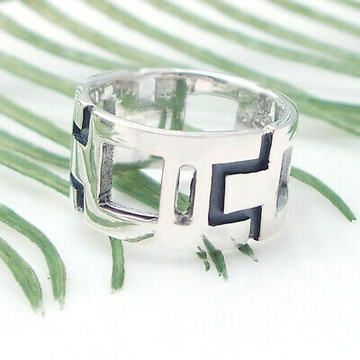 Modern Cut-Out Shiny Wide Band .925 Silver Ring-6.5