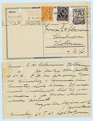 Germany 1923 Inflation Postal Stationery + 188 191 on H&G 148 Cover